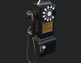 Western Electric 3-slot Payphone 1957 PBR 3D model