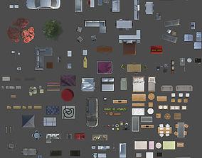 giant 2d furniture floorplan top view PSD 3D model