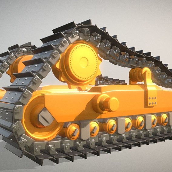 Bulldozer Undercarriage - High-Poly Version