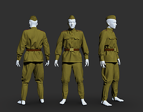 Military uniform of a soldier of the Soviet Army 3D