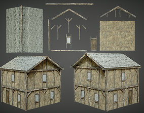 Medieval House Modular Low Poly 3D model
