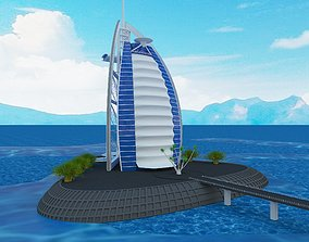 burj el arab building 3ds model resort