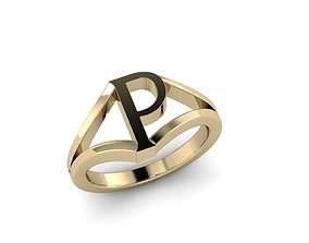 3D print model Jewelry Alphabet Ring P