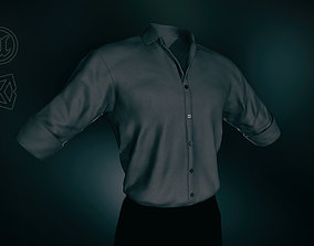 3D model Black Suit Shirt Rolled Sleeve