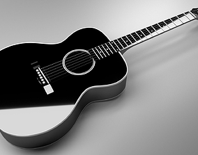 Acoustic Guitar Black high poly 3D model