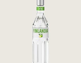 3D asset Finlandia Original Classic Lime Bottle Vodka Of