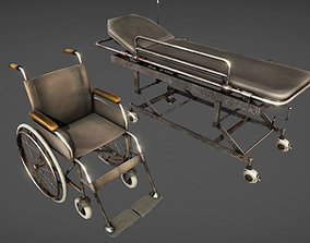 3D asset Hospital wheelchair and gurney