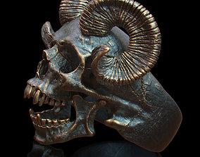 ring skull with horns 3D print model
