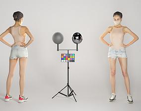 Beautiful young woman in short shorts 256 3D asset