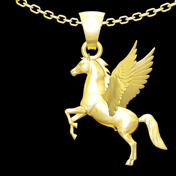 Pegasus Horse Sculpture- Pendant jewelry Gold 3D print model