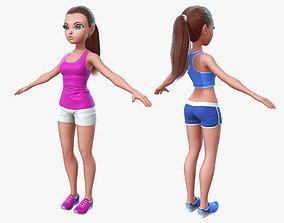 character Cartoon Sport Girl 2 3D asset