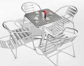 Pack bar coffee terrace 3D asset game-ready
