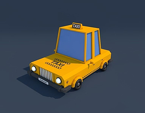 Low Poly Taxi Car 2 3D model low-poly