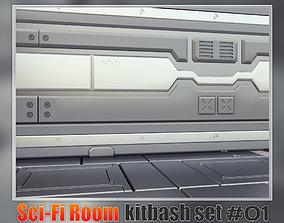 Spaceship Sci-fi interior kitbash set 01 3D