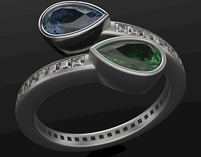 Bypass ring with stone 3D print model