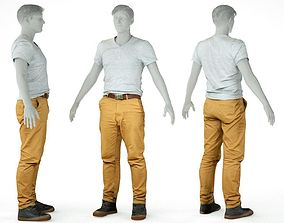 3D asset Male Casual Outfit 27 Tshirt Pants Shoes