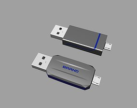 Black and blue OTG USB Flash Disk B 3D printable model