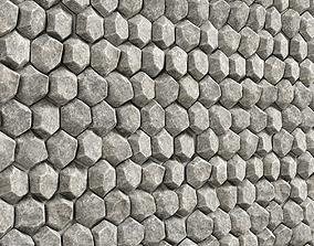 Panel stone hexagon 3D model concrete