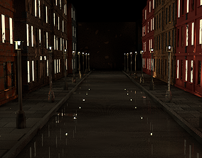 3D model street at night