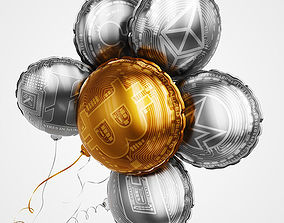 Crypto currency balloons 3D model