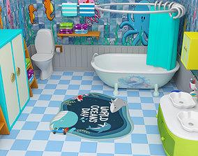 3D asset Bathroom cartoon Low-poly