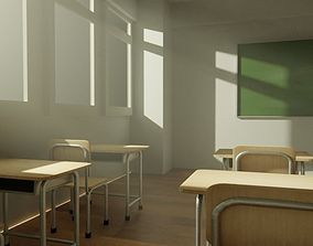 Low Poly School Desk and Chair 3D model