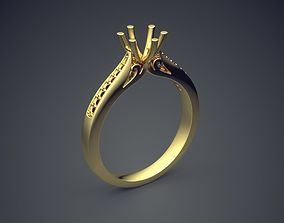 Dainty Engagement Ring with Diamonds 3D printable model 2