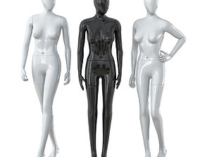Three faceless female mannequins 28 3D model
