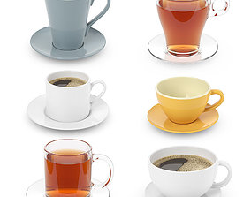 3D model Cups collection with tea and coffee