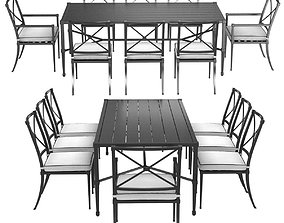 3D Restoration Hardware Trousdale table and chairs