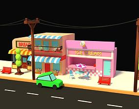 LOW POLY STREET SCENE 3D model
