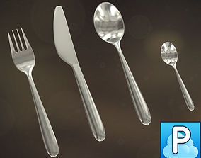 Cutlery set collection 3D model