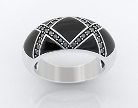 Enamel ring and x with diamonds 375 3D print model