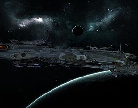 3D asset Spaceship BattleCruiser