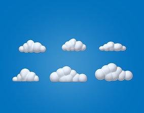 bright 3D model Clouds Cartoon