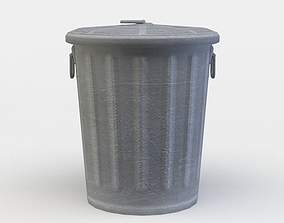 metal 3D asset low-poly Trashcan