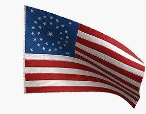 3D model US Flag 34 Stars 1861