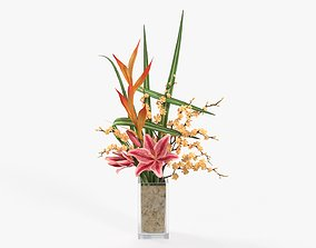 3D Lily bouquet with cherry branch and grass