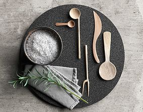 Lava Plate with Wooden Tableware Napkin and Rosemary 3D