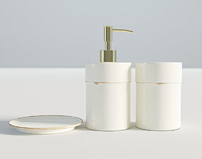 3D model Bathroom Set White and Gold 1