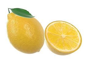 3D model fresh lemon with slice and leaf