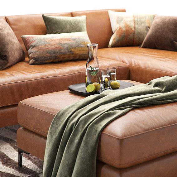 Furniture Visualization | Pottery Barn |  Jake Leather sofa 2 colors