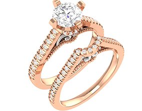 Solitaire Ring with Band - 137274 3D print model
