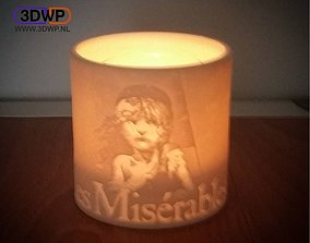 3D print model Les Miserables Lamp - Tea Light Holder