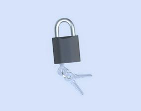 Padlock with keys 3D