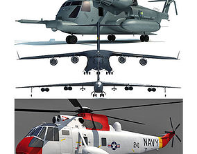 Set of 4 Military Aircrafts 3D