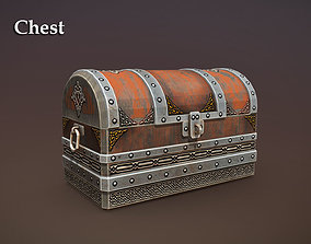 3D asset realtime treasure old Chest