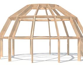 3D asset Wood construction dome