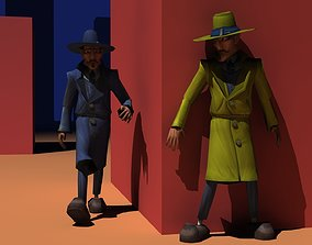 animated Spy low poly game-ready model