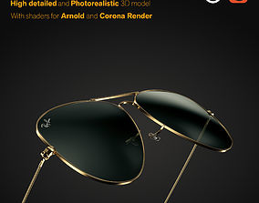 Ray-Ban Aviator sunglasses 3D model fashion-and-beauty